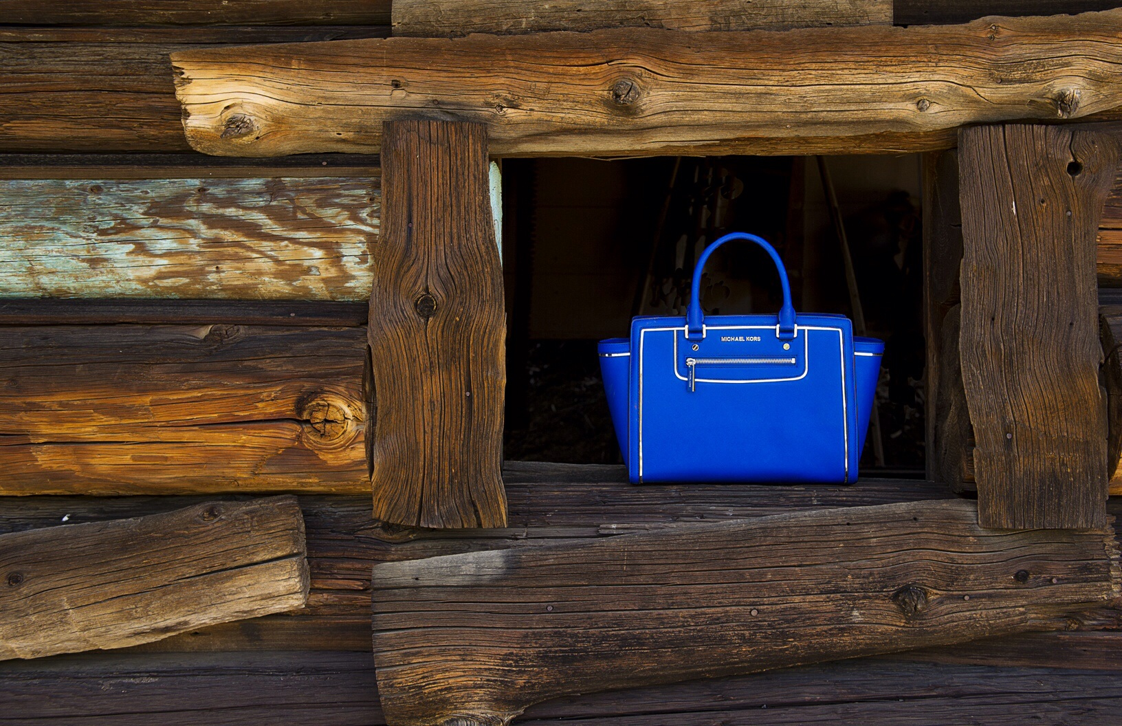 Michael Kors - blue leather handbag - SMILE XXVII Studios